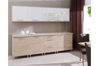 Kuchyňa CORA 260, dub sonoma/biely lesk