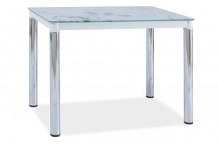 Jedálenský stôl TAMAR II, biely/chróm