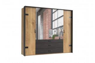 DERO 253/443 5-dverová skriňa so zrkadlom a kovaním