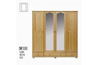 SF120 Šatná skriňa 4-dverová so zrkadlom