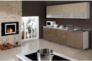 GALAXIA kuchyňa 260 cm, zlatá-hnedá