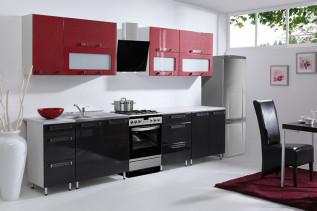 kuchyňa červená, čierna lesklá