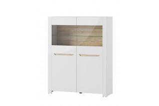 ICON 03 nízka 2-dverová vitrína, biely lesk