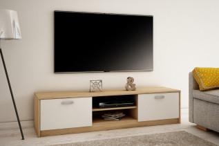 MAREK 028 TV stolík s dvierkami a policami, dub sonoma/biela
