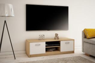MAREK 027 TV stolík s dvierkami a policami, dub sonoma/biel
