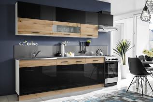 CORAL moderná kuchynská linka, wotan/čierny lesk