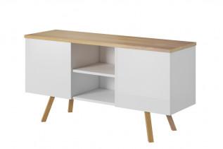 ALEX, RTV stolík biela lesk/dub wotan