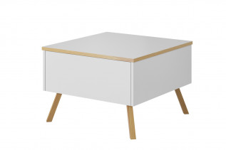 ALEX, konferenčný stolík biela lesk/dub wotan