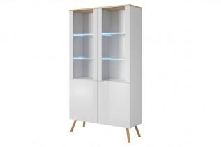 ALEX, moderná vitrína 100 biela lesk/dub wotan