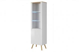 ALEX, moderná vitrína 50 biela lesk/dub wotan