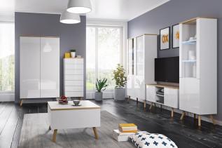ALEX, obývacia stena biela lesk/dub wotan