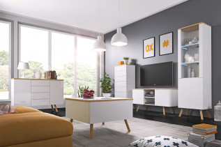 ALEX, moderná obývačka biela lesk/dub wotan