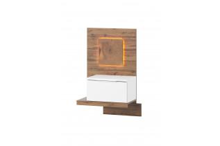LIVIGNO ľavý nočný stolík s LED svetlami 68, dub wotan/biela