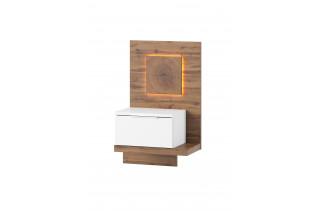 LIVIGNO pravý nočný stolík s LED svetlami 69, dub wotan/biely