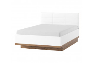 LIVIGNO manželská posteľ s prešívaným čelom 66, dub wotan/biela