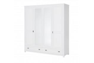 MADYSON biela 4-dverová šatníková skriňa z masívu 74