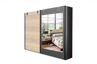 MALLA 791 skriňa s posuvnými dverami a zrkadlom strieborná jedľa