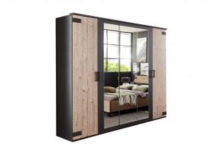 MALLA 566 skriňa 5-dverová s 3 zrkadlami strieborná jedľa