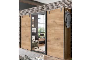 MALLA 796 skriňa s 3 posuvnými dverami a zrkadlomi dub planked