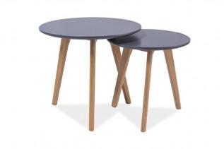 MILANO S2 sada 2 konferenčných stolíkov, dub/sivá