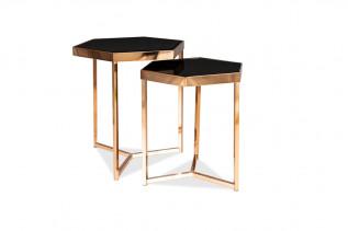 LIEN sada 2 konferenčných stolíkov, champagne/čierna