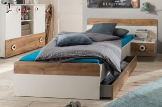 TEORIE 297 jednolôžková posteľ, dub planked/biela