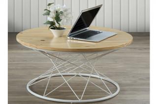 STELLA kávový stolík, biela/borovica