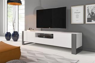 NUKI moderný televízny stolík, biela/šedá