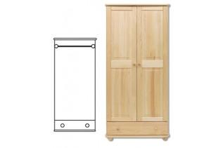 2-dverová šatná skriňa so zásuvkou SF102, vnútro