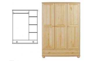 3-dverová šatná skriňa so zásuvkou SF106 , vnútro