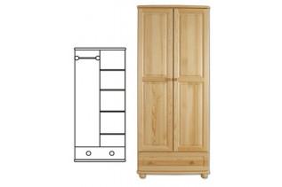 2-dverová šatná skriňa so zásuvkou SF107, vnútro