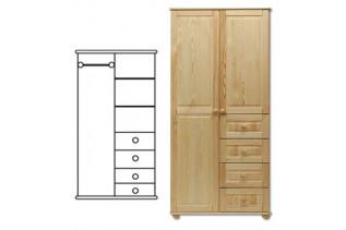 2-dverová šatná skriňa so zásuvkami SF109, vnútro