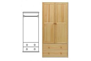 2-dverová šatná skriňa so zásuvkami SF111, vnútro