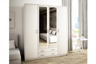VILMA 4D 4-dverová skriňa so zrkadlom, biela