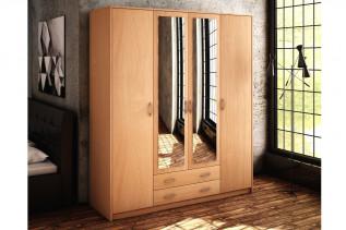 VILMA 4D 4-dverová skriňa so zrkadlom, buk