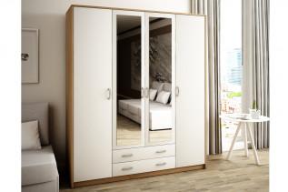 VILMA 4D 4-dverová skriňa so zrkadlom, dub sonoma/biela