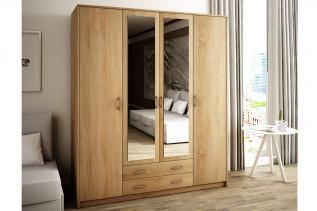 VILMA 4D 4-dverová skriňa so zrkadlom, dub sonoma