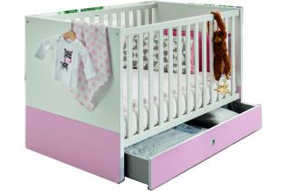 TEORIE 222 detská postieľka, ružová/biela