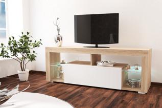 VEGAS samostatný TV stolík, dub sonoma/biely lesk