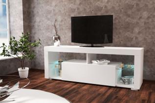 VEGAS samostatný TV stolík, biela/biely lesk