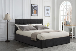 ELISSA čalúnená manželská posteľ 180, čierna