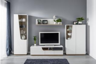 MERMAID moderná zostava do obývačky, biela/biely lesk