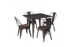 ALMAR jedálenský stôl 90x90 cm, tmavý orech/grafit
