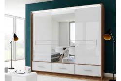 HOLAND šatníková skriňa so zrkadlom 250L biely lesk