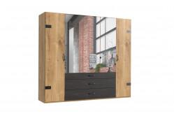 DERO 253 šatníková skriňa 5-dverová s 3 zrkadlami