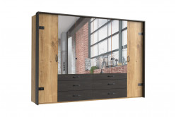 DERO 255/444 6-dverová skrina so zrkadlom a kovaním