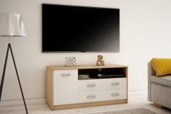 MAREK 029 TV stolík s policami a zásuvkami, dub sonoma/biela
