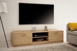 MAREK 028 TV stolík s dvierkami a policami 160cm, dub sonoma