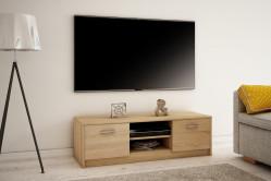 MAREK 027 TV stolík s dvierkami a policami, dub sonoma