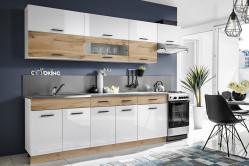 CORAL moderná kuchynská linka, wotan/biely lesk